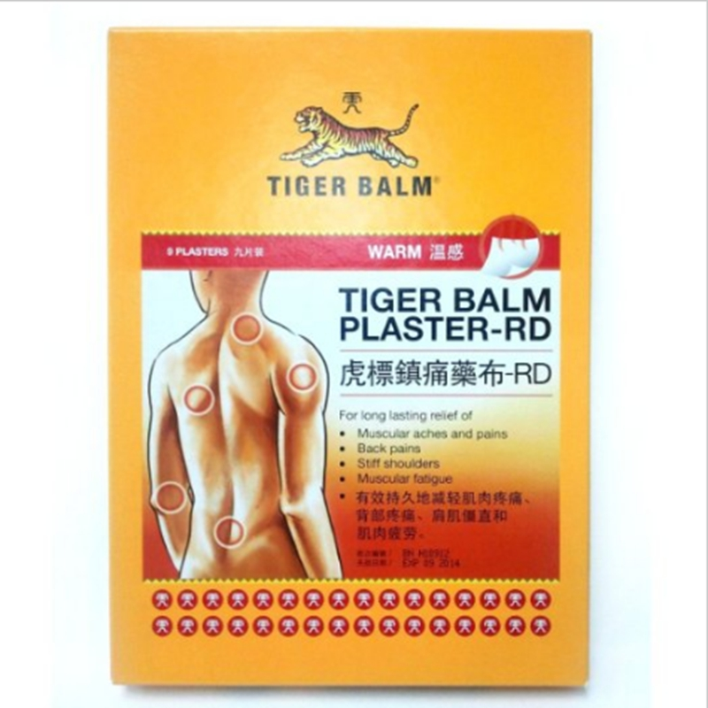9 Sheets/lot Tiger Balm Patch Plaster Tiegao Warm Medicated Pain Relief Plaster-RD Relief of Muscular Aches and Pains MP0033 sumifun 100% original 19 4g red white tiger balm ointment thailand painkiller ointment muscle pain relief ointment soothe itch