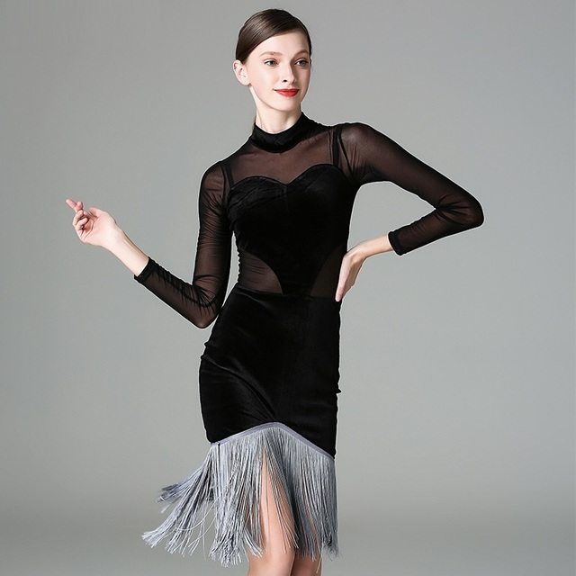 6f5186655 black tassel transparent latin dance dress women tango dress latina dance  wear women modern dance costume latin salsa dress