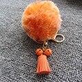 10cm Fur Ball Keychain Colorful High Quality Fur Brand Bag Keychain Pompon Car Keyring Rabbit Fur Brand Charms Pom pom Keychain