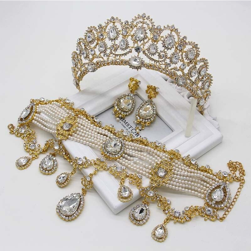 Bijoux de luxe collier boucles d'oreilles diadèmes couronne 3 pièces Roses or/argent mariée bijoux ensemble grande larme cristal perle bijoux ensemble - 6