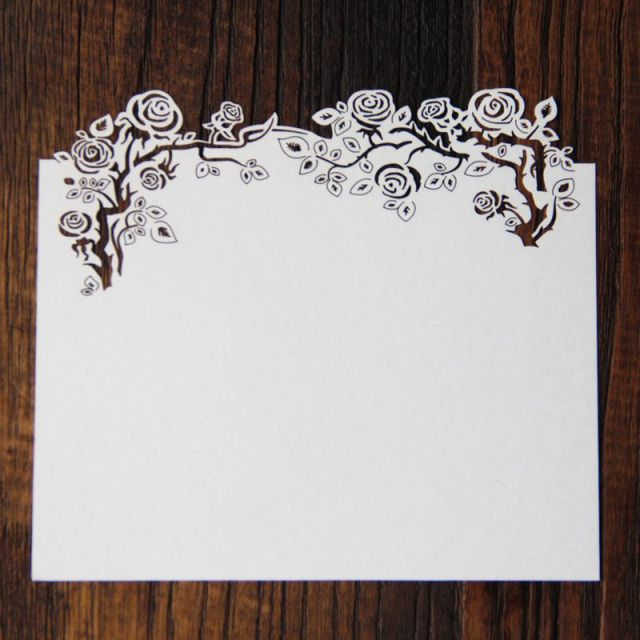 Hollow Laser Cut Rose Girl RSVP Blank Invitation Cards With Envelope  Christmas Gifts Free Shipping