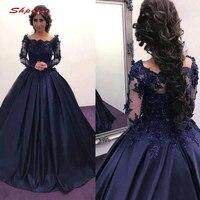 Long Sleeve Lace Quinceanera Dresses Ball Gown Navy Blue Crystals Prom Debutante Sixteen Sweet 16 Dress vestidos de 15 anos