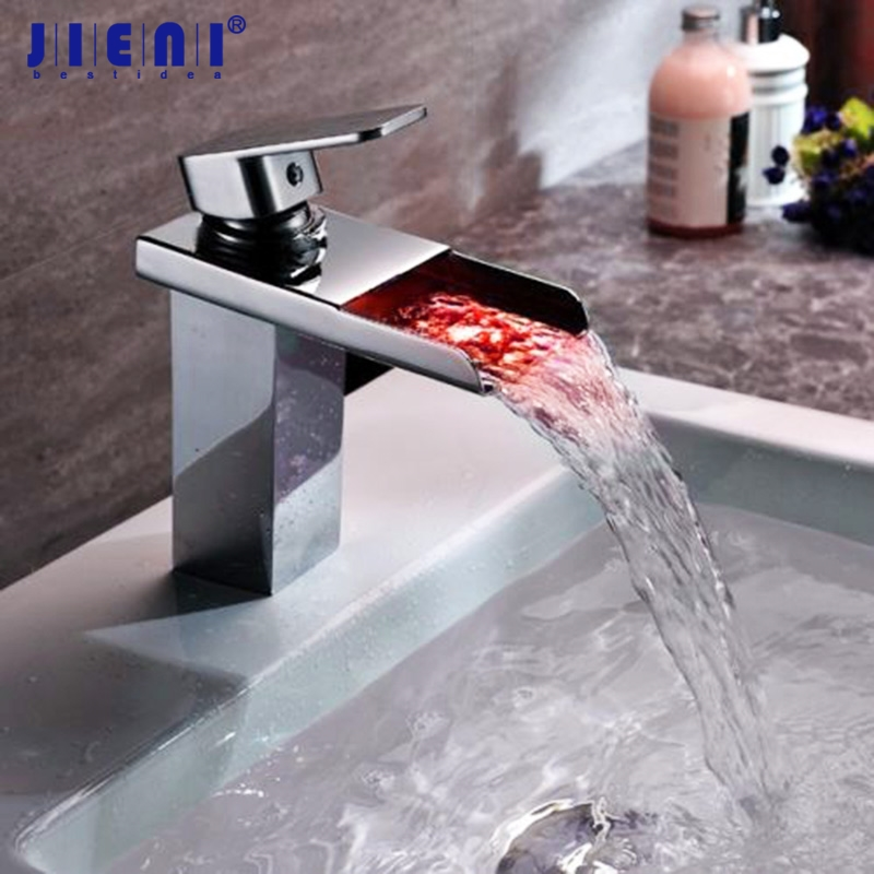 LED Tall Chrome Solid Brass Waterfall Bathroom Basin Faucet Water Tap Sink Mixer Chrome Vanity Vessel Sink Mixer Tap Faucet цена