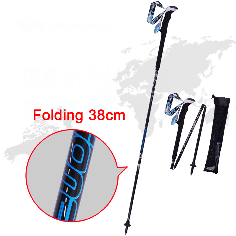 цены 2 Pcs Ultra-light Adjustable Folding Hiking Walking Stick Alpenstock Trekking Carbon Fiber Climbing Ski Trekking Pole L-AHAD-23