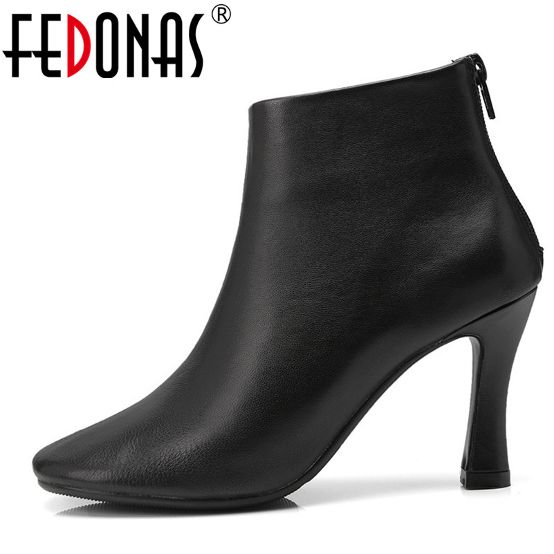 FEDONAS 1Brand Design Women Ankle Boots Autumn Winter Warm Genuine Leather High Heels Shoes Woman Square Toe Zipper Basic Boots 2018 new arrival genuine leather zipper runway autumn winter boots round toe high heels keep warm elegant women ankle boots l29