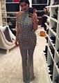 2017 de La Envoltura Corta Vestidos de Noche Elegantes con la Tira Abalorios Escote Halter Sin Mangas Encima de la Piso-longitud de Vestiso de Festa