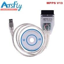 Бесплатная доставка SMPS MPPS V13.02 V13 K МОЖЕТ Flasher чип-тюнинг ЭКЮ программист REMAP OBD2 MPPS V13.02 Профессиональный диагностический кабель
