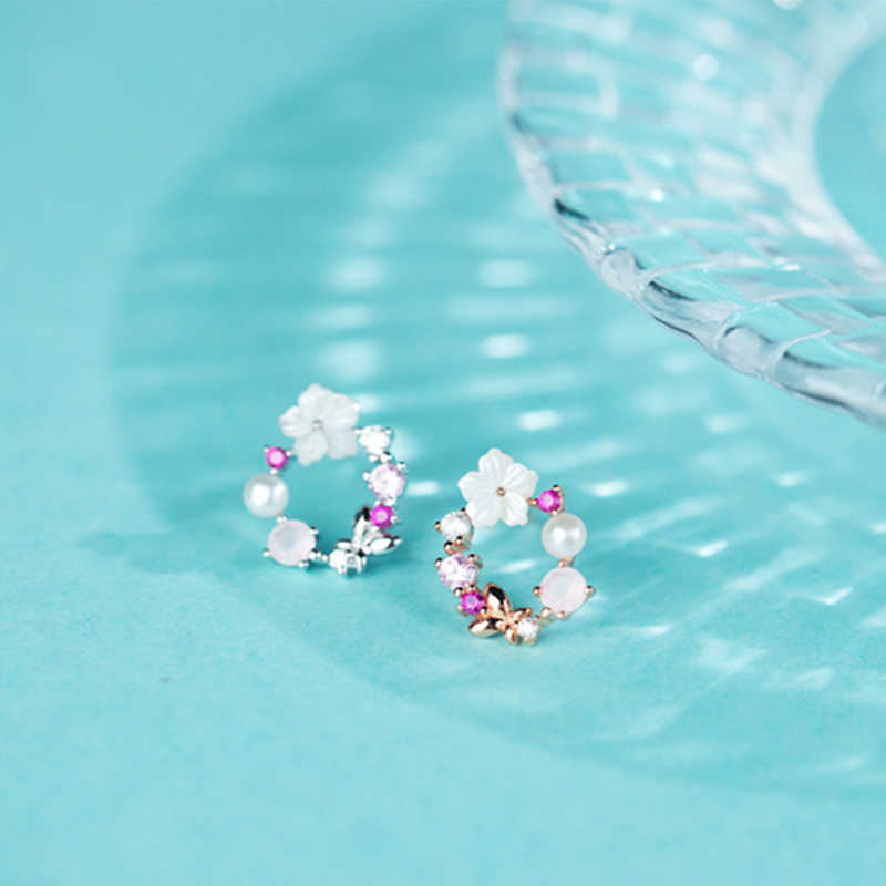 S925 סטרלינג עגילי כסף מתכתי מים מתוקים פרל פרחים עם זירקון חלול עגול עבור נשים בנות תכשיטי עגיל