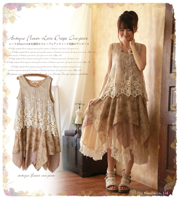 e827468fb1a40 hippie boho mori girl lolita cute Japanese style laces patchwork robe femme  floral print rockabilly women summer tank dress-in Dresses from Women's ...