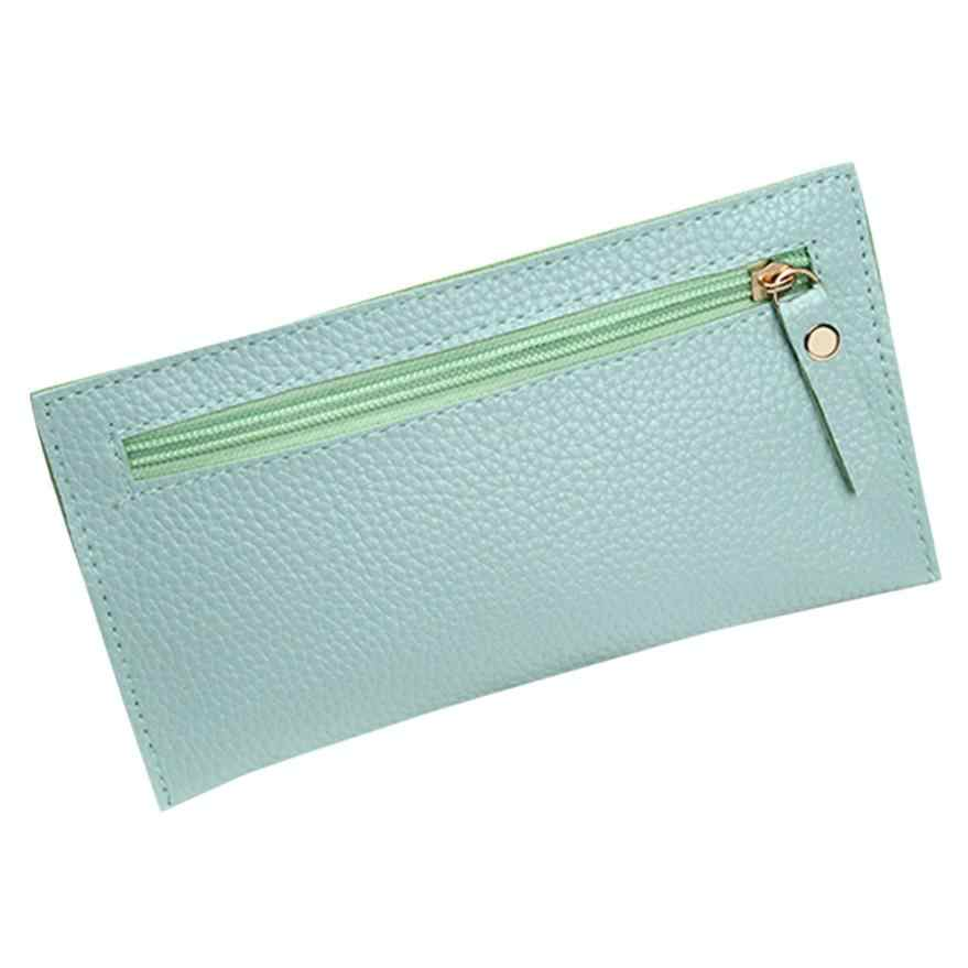 Fashion Women PU Leather Grin Long Wallet Coin Purse Card Holders Zipper  Wallet Purse Square Long Bag Bomber # CC