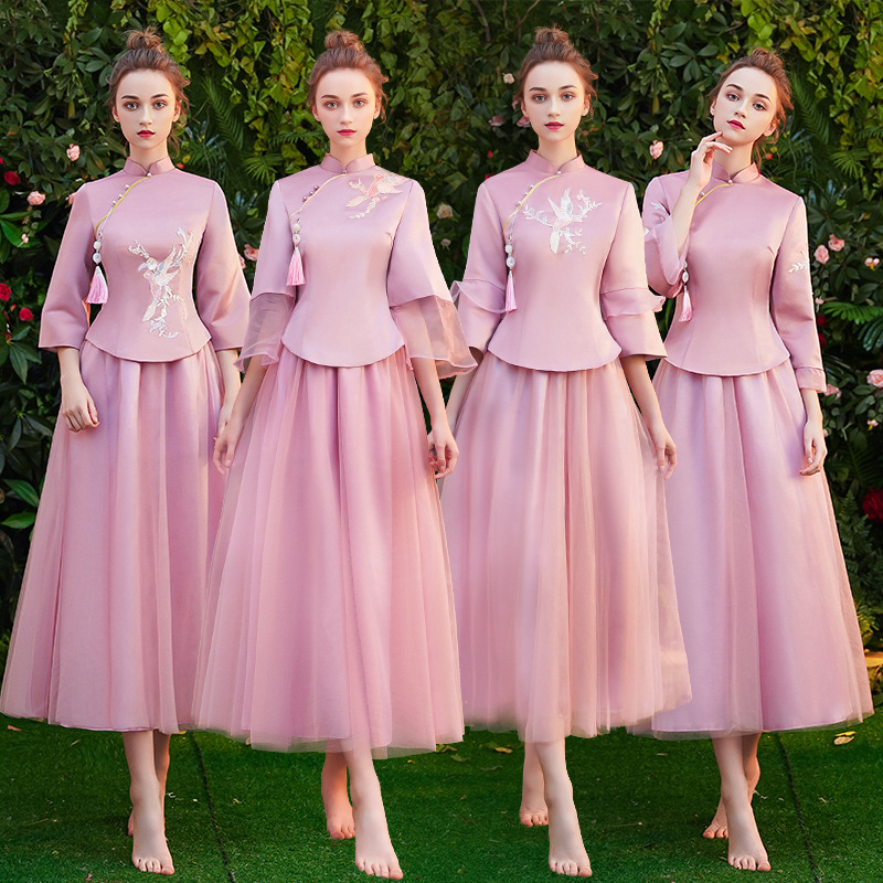 Spring Bridesmaid Skirt Pink Long Chinese Style Dress