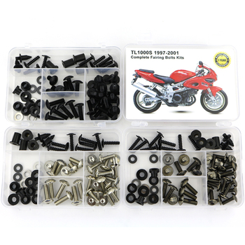 For Suzuki TL1000S 1997-2001 Motorcycle Complete Full Fairing Bolts Kit Screws Steel Fairing Clips Nuts Covering Bolts 5pcs 6mm cnc motorcycle fairing body work bolts screws for ktm 950 adventures 03 04 05 06 400 xc w rc390 rc8