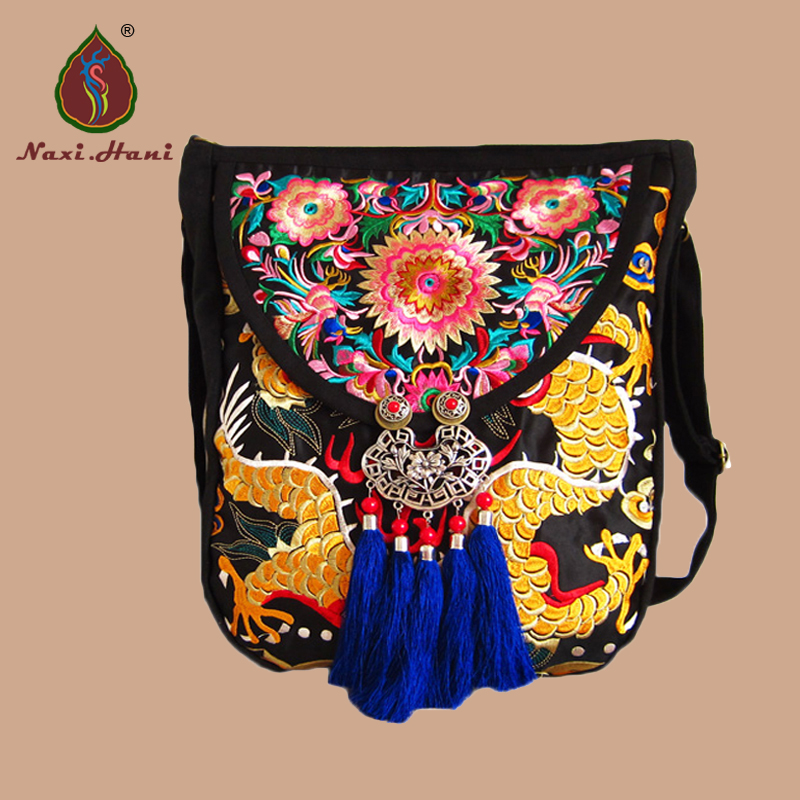 New arrival Ethnic design dragon pattern bag embroidery women shoulder bags Vintage handmade tassel Canvas messenger bags original ethnic embroidered women handbag vintage handmade tassel shoulder bags black canvas casual large bags