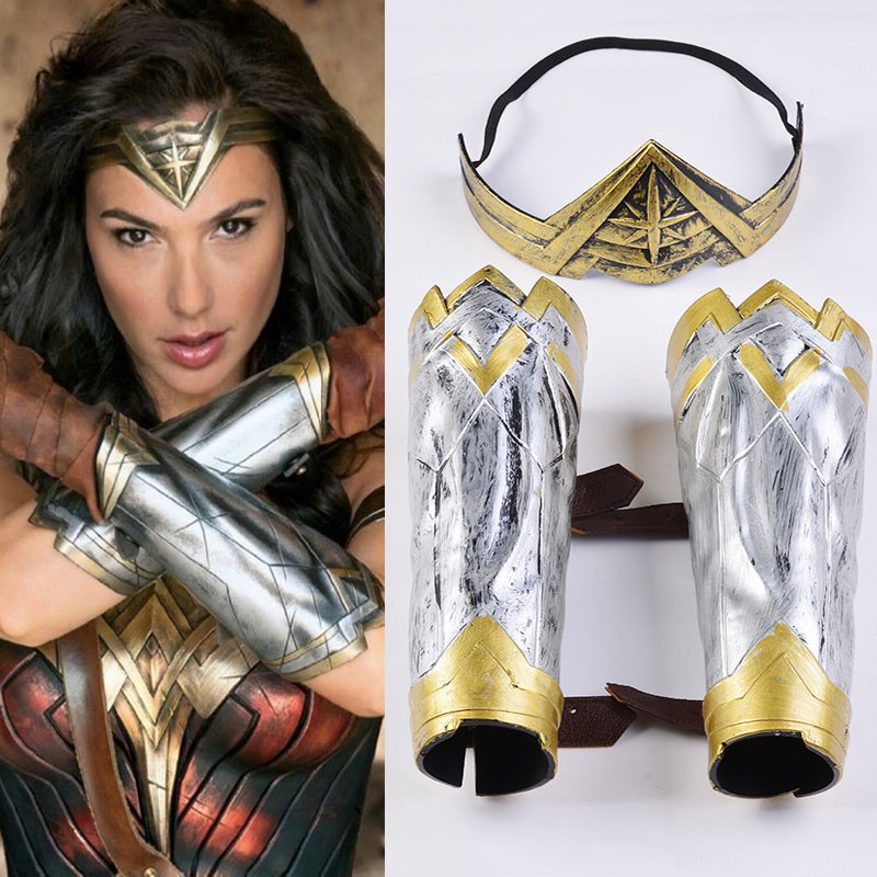 Halloween Cospaly Hot Wonder Woman Bracers Headgear Justice League Costume Accessories Performing Play Props For DC Comic
