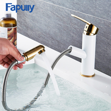 Fapully luxury golden pull out bathroom faucet brass basin mixer