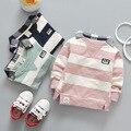 Alta Qualidade camisa Dos Miúdos Meninos Polo Bebê Menino Roupas Primavera Manga Comprida de Algodão Listrado Destacável Gola Tshirt Criança 6-24month