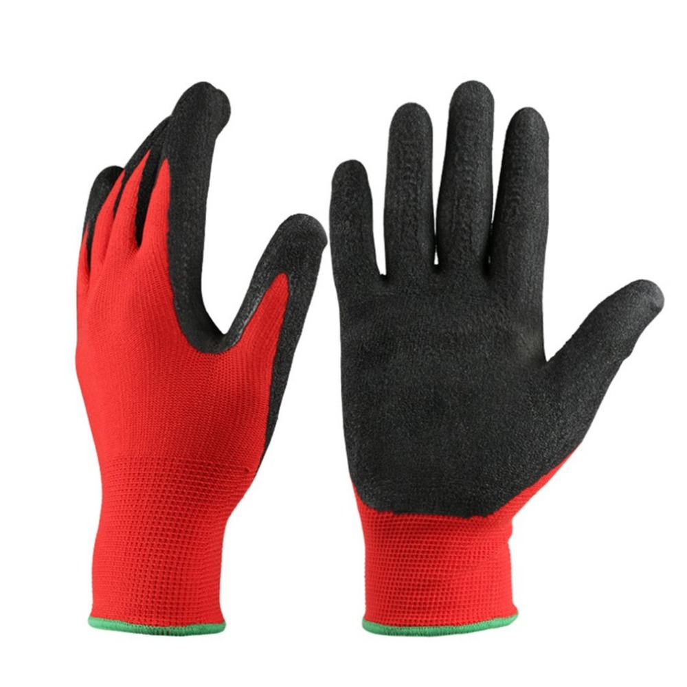 1 Pair of Safety Labor Protective Gloves latex garden gloves Latex Dip Nylon Red Latex Coated Work Gloves pro biker mcs 04 motorcycle racing half finger protective gloves red black size m pair