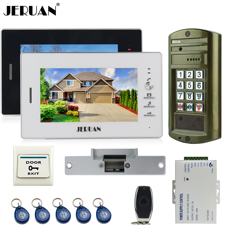 JERUAN 7 inch Video Intercom Door Phone  System kit 2 Monitor + Metal panel Waterproof Access Password keypad HD Mini Camera jeruan 8 inch video door phone high definition mini camera metal panel with video recording and photo storage function