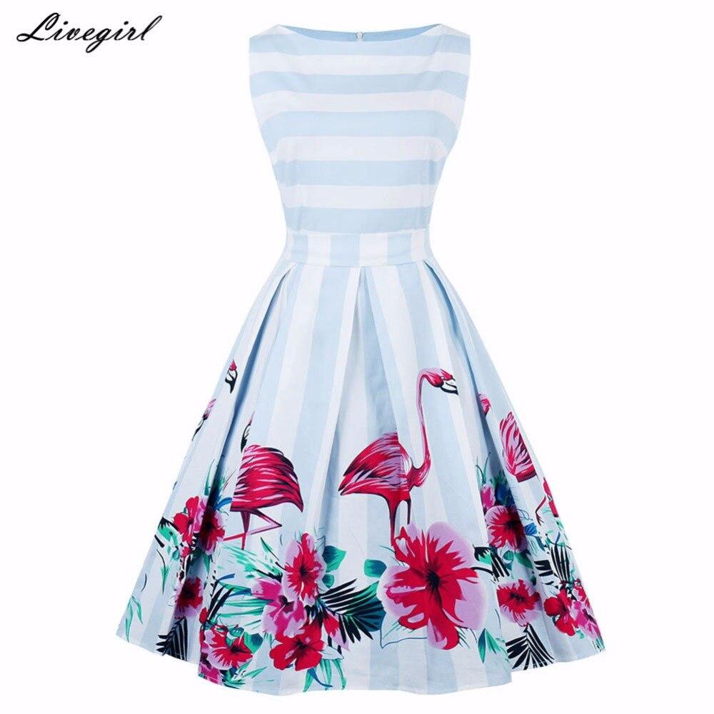 Enyuever Vintage Kleid Plus Größe Floral Flamingo Drucken Striped ...
