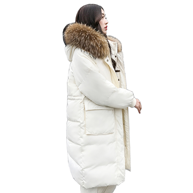 95% White duck   down     coats   Fur Collar Winter   Down     Coat   Jacket Thick Warm Women Casaco Feminino Abrigos Mujer Invierno Outwear