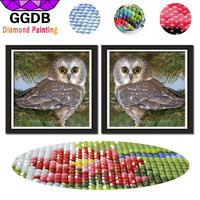 GGDB 2PCS 5D DIY Seaside Owl Diamond Embroidery Mosaic Rhinestone Cross Stitch Needlework Wall Stickers Home
