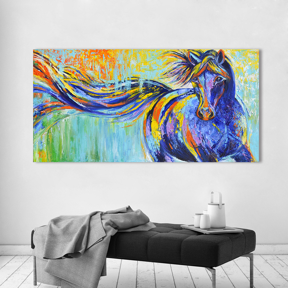 Us 8 99 50 Off Aavv Wall Art Canvas Animal Picture Wall Painting Blue Horse Home Decor Print Poster For Living Room No Frame In Painting