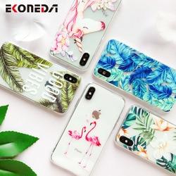 EKONEDA Capa de Silicone Para o iphone 7 7Plus 6 6 6S Plus 5 5S SE Caso Capa TPU Macio flor Folhas Pássaro Para iPhone 8 Plus X XS 6S Max