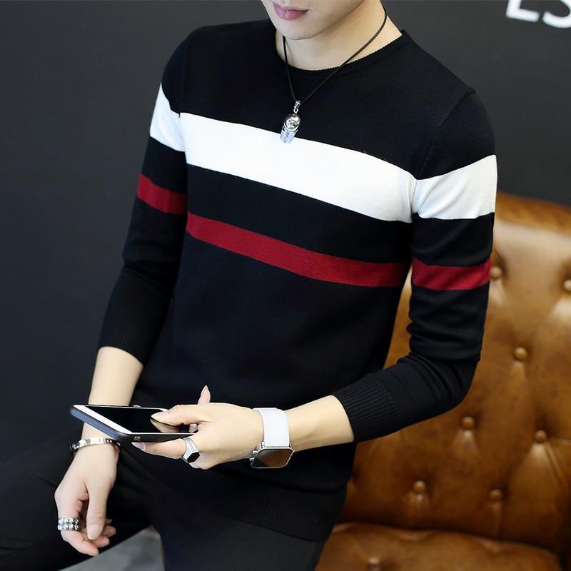 2018New Men 'S Fashion V-Neck Base Shirt Korean Style Simple Fashionable Korean-Style Slim Mercerized Cotton Men