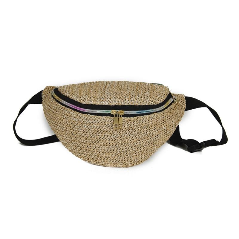 Fashion Weave Straw Waist Packs Women Bag Belt Pouch Casual Chest Crossbody