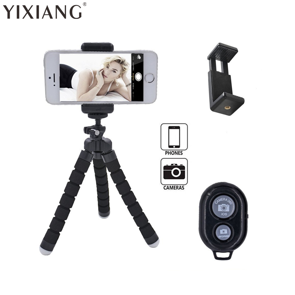 YIXIANG Octopus Style Portable and adjustable Tripod Stand Holder for iPhone, Cellphone ,Camera with Universal Clip and Remote
