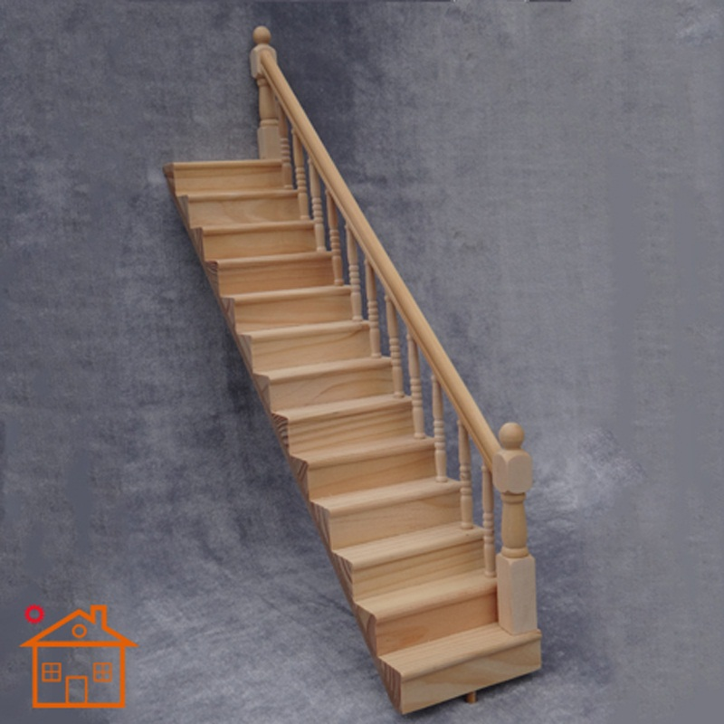 2Pcs 1:12 Dolls House Miniatures Wood Staircase Stair Steps Accessories