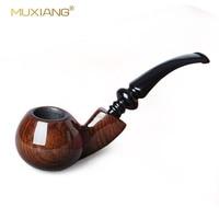 10 Tools Ebony Wood Smoking Pipe Set Handmade Black Tobacco Wood Pipe Classic Bent Pipes Gift ac0014