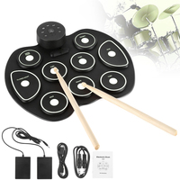 Electronic 9 Pads Roll up Portable Silicone Drum with Drumsticks and Sustain Pedal Children Students Practice Drum