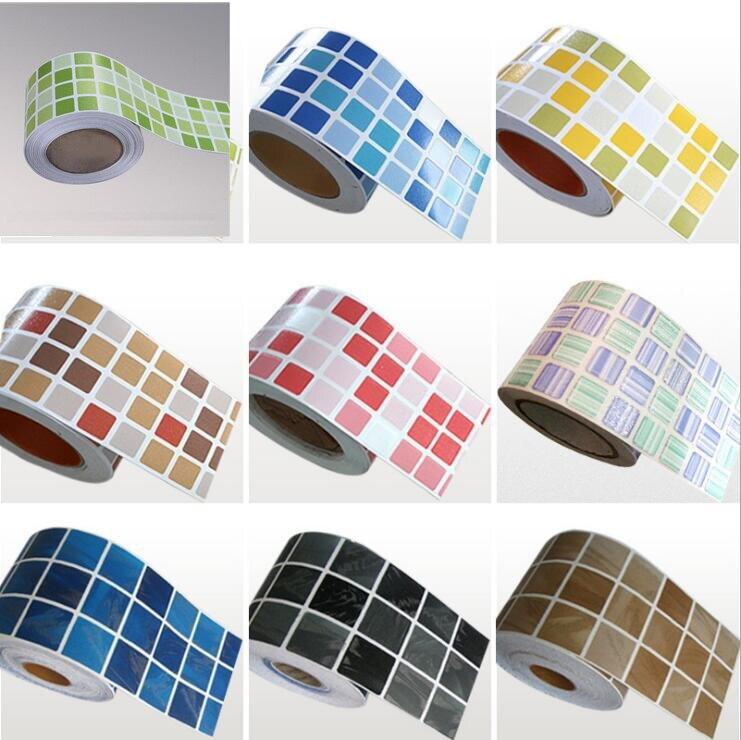 Bathroom Kitchen Wall Waterproof Wallpaper Roll Sticker /3D Mosaic Sticker Borders Tile Stickers / Fashion Home Decor  Sticker