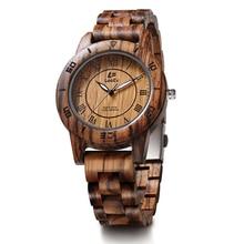 LeeEv EV2076 Mujeres Peso Ligero de Lujo Cebra Natural Sandal Wood Reloj de Cuarzo Reloj de Pulsera de Madera de La Vendimia