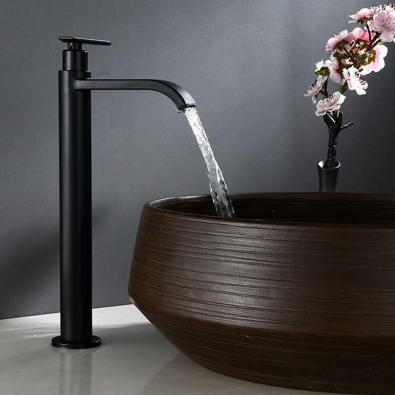 ماتي الأسود شلال طويل القامة حوض صنبور حمام من الفولاذ المقاوم للصدأ بالوعة غسل الحنفية واحدة الباردة المياه الحنفية واحدة رافعة سطح السفينة جبل