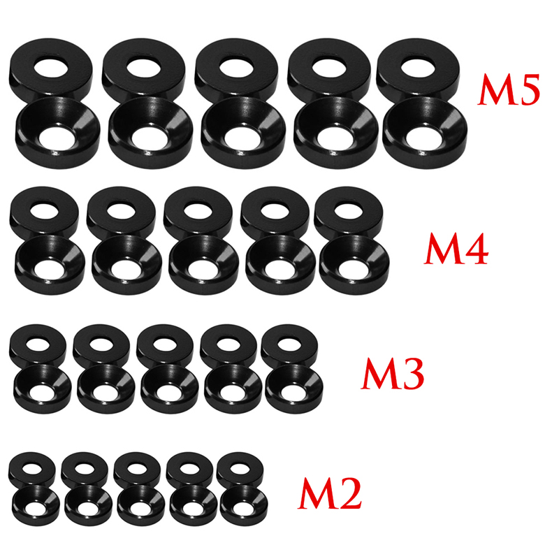 OOTDTY New Aluminum Alloy M2/M3/M4/M5 Anodized Countersunk Head Bolt Washers Gasket Red/Titanium Gray/Gold/Royal Blue/Black wltoys 12428 12423 1 12 rc car spare parts 12428 0091 12428 0133 front rear diff gear differential gear complete