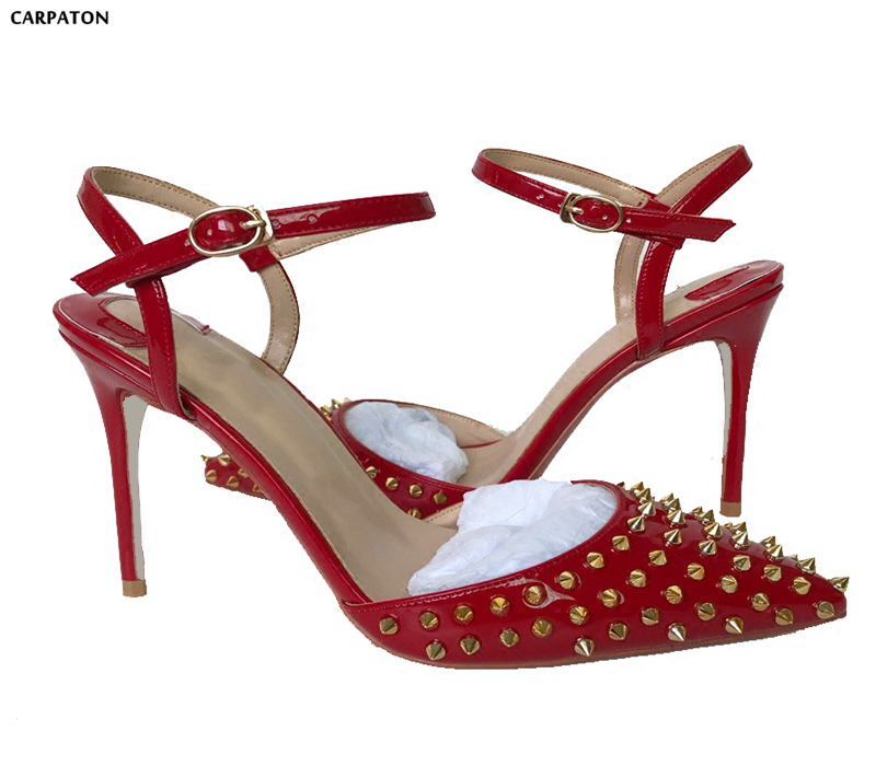 Carpaton 2018 Srping Red Leather High Heels Sexy Pointed Toe Gold Rivets Studded Ankle Strap Woman Sandal Stiletto Heels Shoes summer newest woman sandal thin heels high heel shoes 2017 solid red leather ankle buckle strap sandals rivets studded shoes