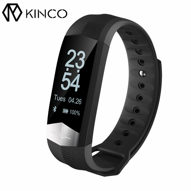 KINCO Bluetooth Waterproof ECG Temperature Bracelet Pedometer Heart Rate Blood Pressure Monitor Smart Wristband for IOS/Android jimate g16 pedometer smart wristband bluetooth smartband heart rate monitor blood pressure bracelet color screen for ios android