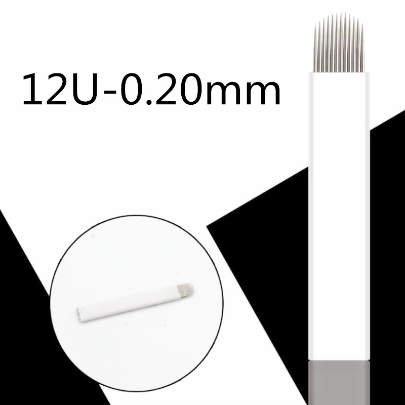 0,20mm U Form 12 Pin Tattoo Nadeln Permanent Make-up Augenbraue Stickerei Klinge Für 3d Microblading Manuelle Tattoo Stift