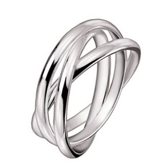 Women 925 Sterling Silver 3 Triple Rolling Engagement Wedding Ring