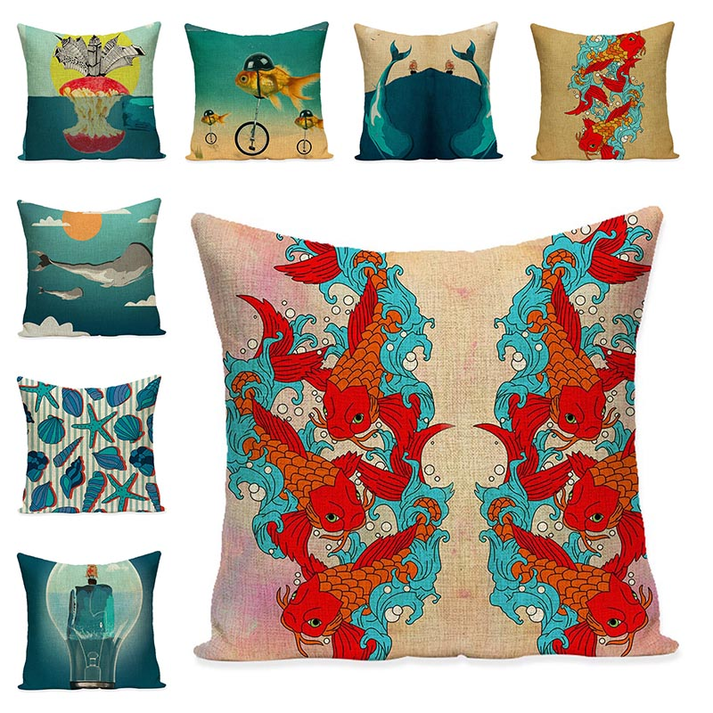 Ocean Home Decorative Art Pillowcase Fishes Printed Cushion Cover Simple Boat Anchor Cotton Linen Chair Cushion Home Decor Gift
