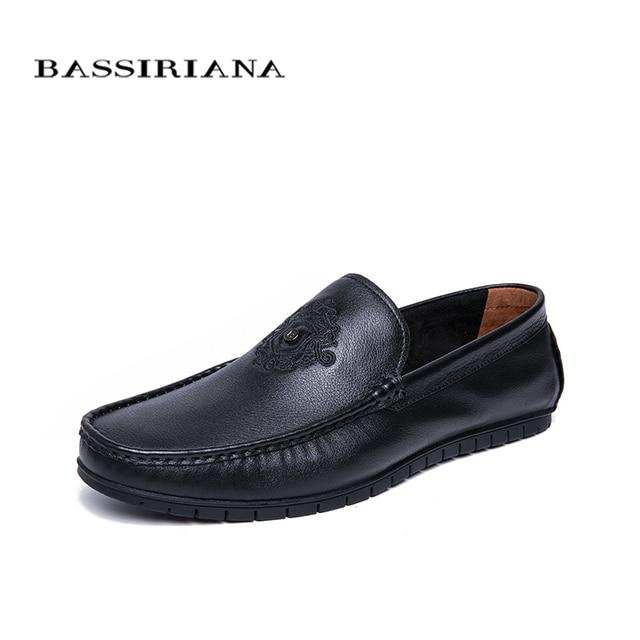 BASSIRIANA/Новинка 2019 годамужская повседневная обувь из натуральной коровьей кожи с круглым носком черного цвета на весну-осень, размеры 39-45, мягкая подошва