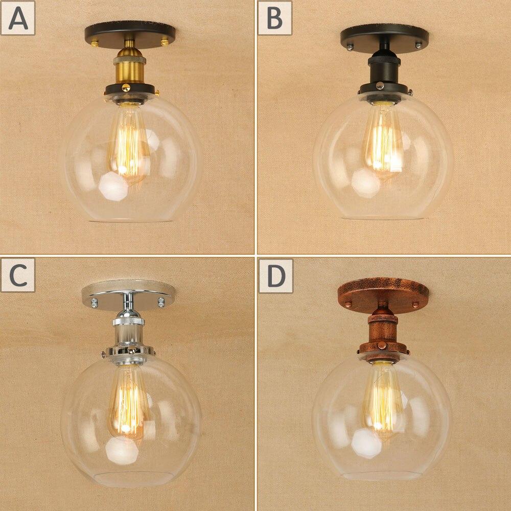 Лофт Винтаж гладить стекло потолочный светильник светодиодный E27 потолочные светильники блеск современные светильники plafonnier светильник д…