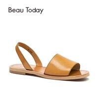 BeauToday летние сандалии для женщин из натуральной коровьей кожи женские гладиаторы Slingback ремень обувь на плоской подошве ручной работы 32032