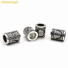 GraceAngie 1PC Silver Tone Beads Viking Norse Runes Bead Hair Beard Accessory DIY Antique Bracelet Jewelry Scandinavian Pendants