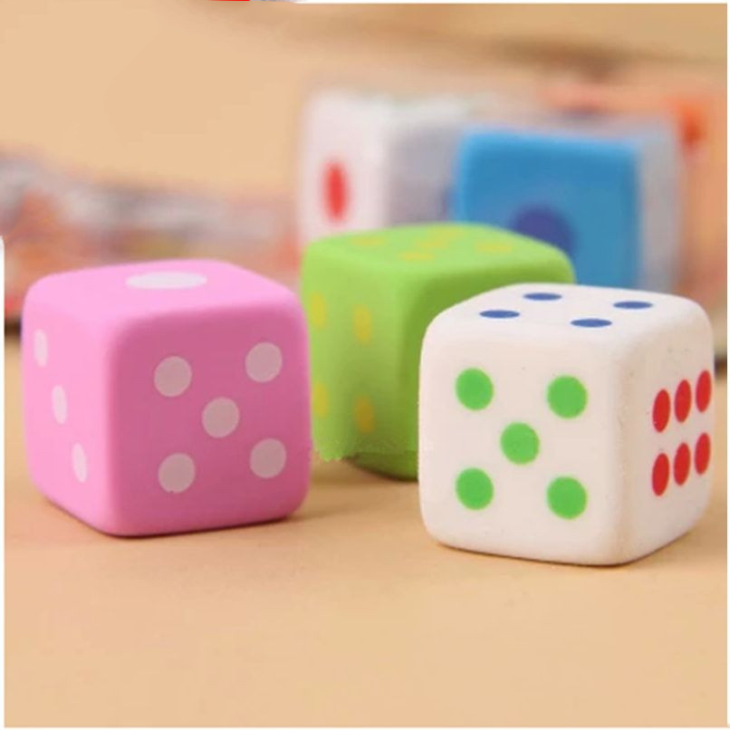 3pcs/pack Dice-shaped Soft  Flexible Durable Cube Kawaii Chancery Pencil Rubber Erasers For School Kids