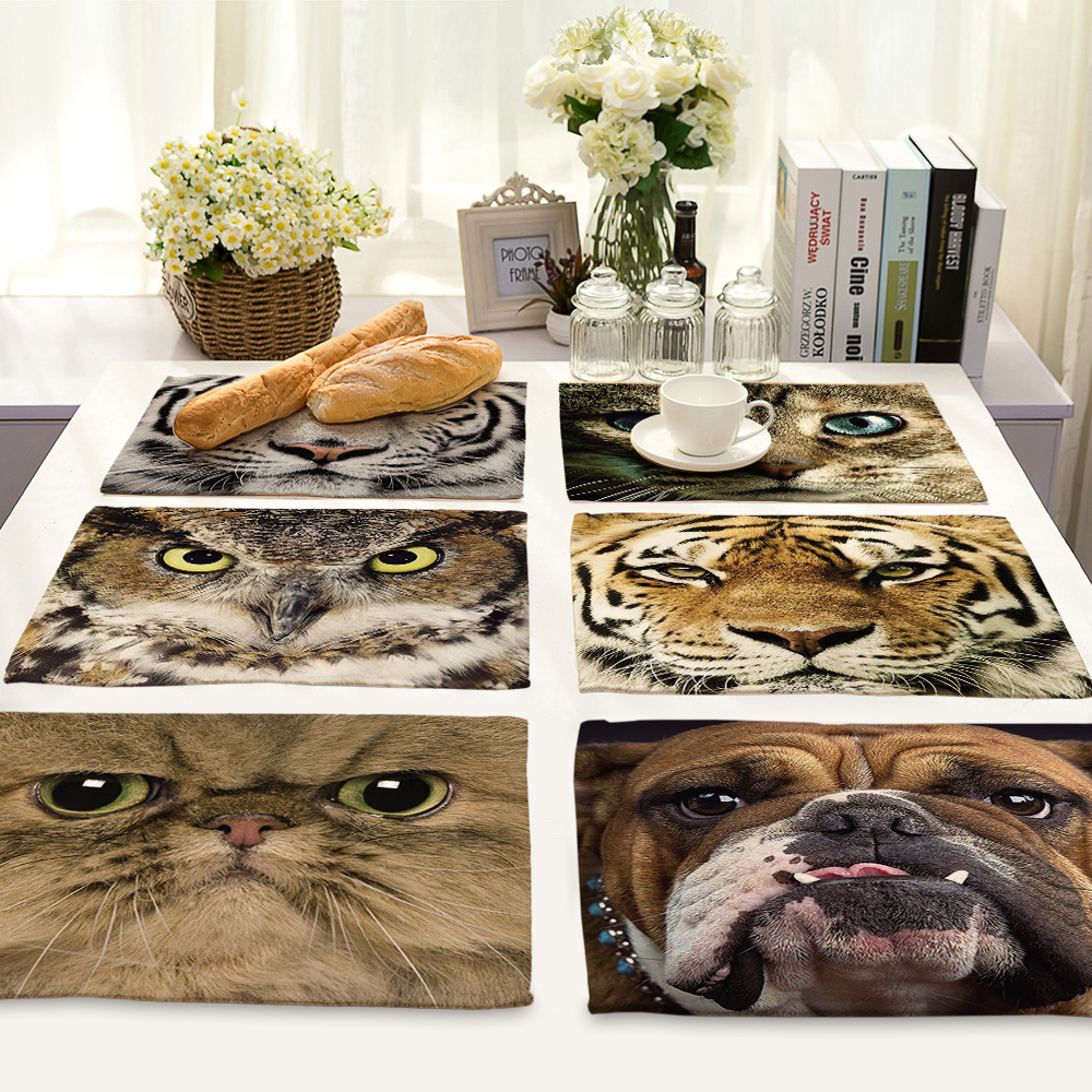 Cute Cartoon cat owl Pattern Table Mat Animal Table Napkin Placemat Kitchen Decoration Dining Accessories 42x32cm MA0058