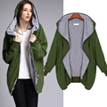 Gamiss New Autumn Winter Plus Size Bomber Jacket Women Basic Coats Army Green / Black Color Casual Hooded Daily Outwear