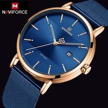 NAVIFORCE كوارتس ساعة رجالية فاخرة ماركة شبكة من الاستانلس استيل حزام ساعة اليد كبيرة رجالي ساعات relogio masculino